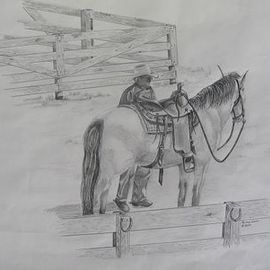 Ronald Lunn Artwork Lets hit the Trail, 2015 Pencil Drawing, Equine