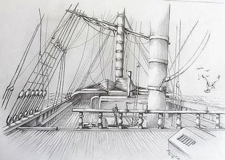 Pencil Drawing by Ronald Lunn titled: Looking Aft, created in 2006