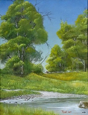 Ronald Lunn: 'My Fishing Hole', 2018 Oil Painting, Landscape. landscape, nature, wildlife, water, pond, trees, fishing, trail, walkway, rural...