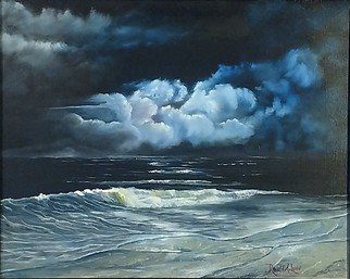 Ronald Lunn: 'calm before the storm', 2018 Oil Painting, Marine. Artist Description: Storm coming in from the sea. ...