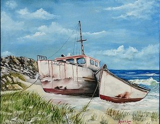 Ronald Lunn: 'elizabeth', 2018 Oil Painting, Beach. Artist Description: My focus is more heavily on the tranquility of the water rather than the roughness of it.  The sea and boats have always seemed to carry a unique spirit and an intriguing connection to each other.  ...