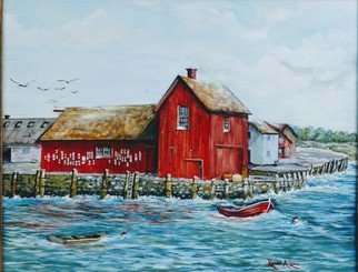 Ronald Lunn: 'motif no 1 red fishing shack', 2018 Oil Painting, Marine. Artist Description: One of the most painted scene in the world. ...
