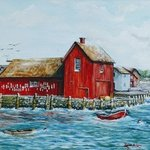 motif no 1 red fishing shack By Ronald Lunn