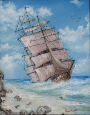 Ronald Lunn: 'slipping by cape d or', 2018 Oil Painting, Marine. Artist Description: First time actually painting a full sized ship in this manner and it reminded me of Cape D Or in NS. ...