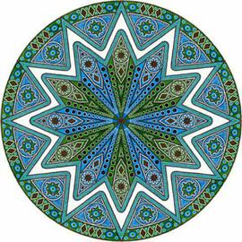Ron Zilinski: 'Blue Green Horizon', 2004 Pen Drawing, Geometric. Artist Description: Beautiful colors are offered in this design drawing.  Over 80 hours to draw this drawing.  Blue, Green and Black are the color tones and combined into geometric shapes gives this design it' s best features....