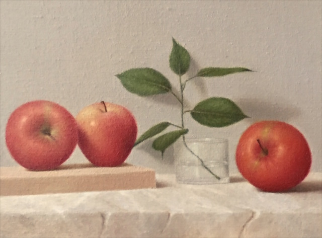 Ronald Weisberg  'Apple 3', created in 2017, Original Painting Tempera.