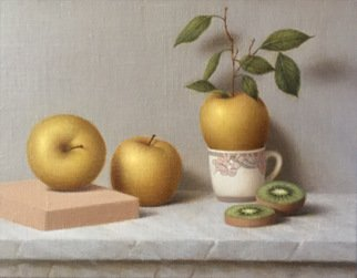 Ronald Weisberg: 'apple leaf', 2017 Oil Painting, Still Life.