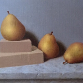 Ronald Weisberg: 'pear 3', 2017 Oil Painting, Still Life.