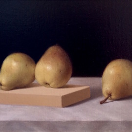 Ronald Weisberg: 'pears 1', 2017 Oil Painting, Still Life.