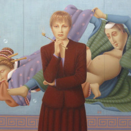 Ronald Weisberg: 'pipe dreams', 2008 Oil Painting, Representational.