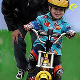 Rosalinda Alejos: 'CC Ride', 2004 Other Photography, Family. Artist Description: One always remembers their very first bike.  This little guy got a Harley.  Time with him is sheer Magic....