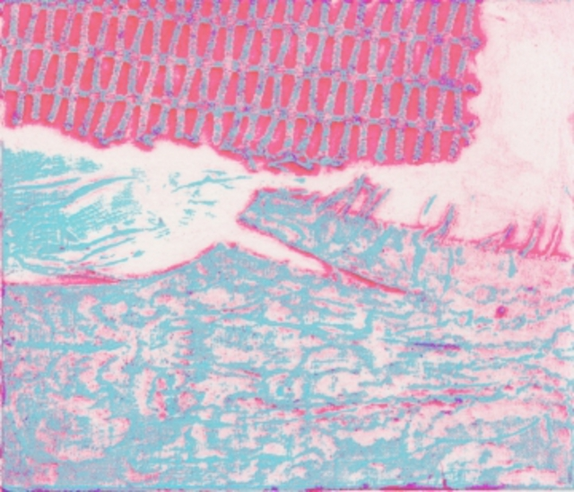 Rosalyn M. Gaier  'Statement In Pink And Blue', created in 1999, Original Printmaking Etching.