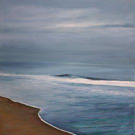 Ross Jahnig: 'Sun Down', 2011 Oil Painting, Seascape. Artist Description:        Original oil on canvas being offered by the artist. This scene was painting at the Sandy Hook marine park on the Jersey shore. Thank you for looking.       ...