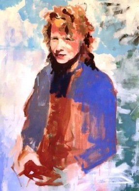 Jerry Ross: 'Angela a go go', 2010 Oil Painting, Portrait.  The artist' s wife, Angela Ross, in Amazon Park, Eugene. An example of the