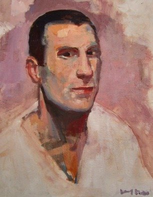 Jerry Ross: 'Portrait of Italian Soccer Player', 2014 Oil Painting, Landscape. Artist Description:  Inspired by many trips to Italy and the huge soccer culture there. The face displays courage and determination. This portrait sketch, done in a loose brushwork style, depicts the face of an individual athlete. The colors are warm flesh tones that contrast with the black hair and white ...