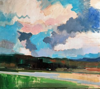 Jerry Ross: 'amazon park', 2019 Oil Painting, Landscape. Eugene s popular Amazon Park with colorful sky and dramatic clouds. ...