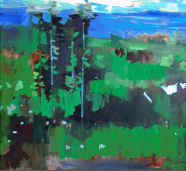 Jerry Ross  'Oregon Forest Veduta', created in 2019, Original Painting Oil.