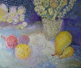Reiner Poser: 'pomegranats and pears', 2020 Oil Painting, Still Life. Fruits and flowers in oil painting,Pointillism- painting...
