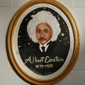 Cathy Dobson: 'Albert Einstein', 2006 Oil Painting, Portrait. Artist Description: Phosphorescent quote wraps arond- ( Imagination is more Important than Knowledge - A. Einstein) the portrait on oval canvas. Illuminated oil painting. ...