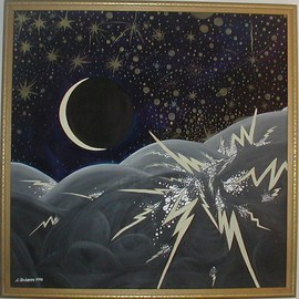 Cathy Dobson Artwork Almost New, 1994 Oil Painting, Astronomy