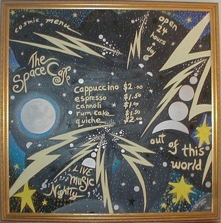 Cathy Dobson: 'Cosmic Menu', 1994 Oil Painting, Space.   Cosmic Collection.Original Illuminous Oil Painting.Partly primed and unprimed textured linen canvas has highlighted phosphorescent outer space and menu options that glow in the dark or under black lights....