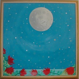 Cathy Dobson Artwork Full Moon, 1994 Oil Painting, Astronomy