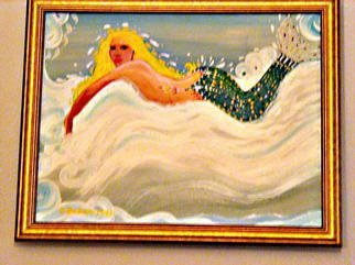 Cathy Dobson: 'Gratitude', 1999 Oil Painting, Fish. Original Mermaid oil painting.Fine gold wooden frame. ...