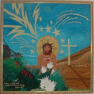 Cathy Dobson: 'Jesus Christ', 1994 Oil Painting, Christian. Original Oil painting with phosphorescent highlights that glow in the dark or under black lights. Features Bible quote-  Acts 11: 28 In Him we live and move and have our being.Partly primed and unprimed linen canvas....