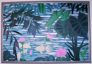 Cathy Dobson: 'Lily Pond', 1990 Oil Painting, Fish. Phosphorescent trio of fishes swimming in a pond- oil painting. Fish glow in the dark. Beautifully framed.In the Wild Collection.  ...