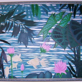 Cathy Dobson: 'Lily Pond', 1990 Oil Painting, Fish. Artist Description: Phosphorescent trio of fishes swimming in a pond- oil painting. Fish glow in the dark. Beautifully framed.In the Wild Collection.  ...