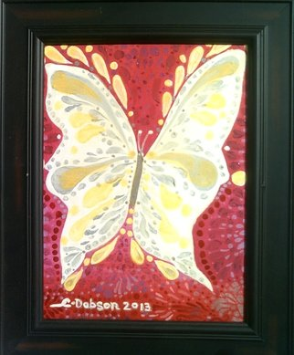 Cathy Dobson: 'Magic Butterfly', 2013 Oil Painting, Magical. Original Illuminous Oil Painting. The Butterflies and Unicorns Collection. Phosphorescent ButterflyGlows in the dark or under black lights. Dark Wood Frame. Primed cotton canvas.     ...