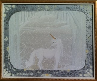 Cathy Dobson: 'Magic Unicorn', 2013 Oil Painting, Magical. Original Illuminous Oil Painting  from The Butterflies and Unicorns Collection. Rare Magic Unicorn in the snow Glows in the dark.Incredible gold and white wooden frame.      ...