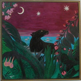 Cathy Dobson: 'Midnight Panther', 1994 Oil Painting, Cats. Artist Description:   In The Wild Marijuana Collection. Spotted black panther. Partly primed and unprimed linen canvas....