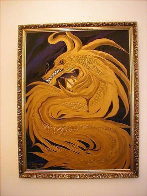 Cathy Dobson: 'Sea Serpent 1', 1990 Oil Painting, Fantasy. One of a Set of two Original Oil Paintings of Golden Sea Serpent Water Dragons.His eyes and pearl in claws glow in the dark. Matching ornate carved gold wooden frames. Sold as a set only.Textured partly primed and unprimed linen canvas.Dragon Collection. $10,000 for the set....