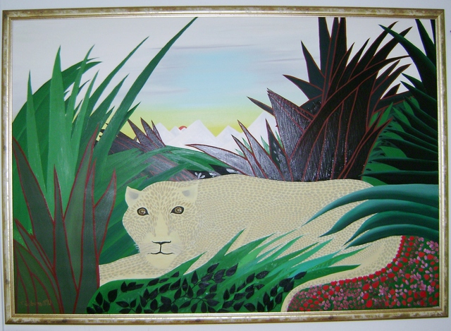 Artist Cathy Dobson. 'Snow Leopard' Artwork Image, Created in 1990, Original Painting Oil. #art #artist