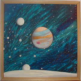 Cathy Dobson Artwork The Moons Of Jupiter, 1994 Oil Painting, Astronomy
