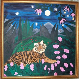 Cathy Dobson: 'Tiger In The Wild', 1992 Oil Painting, Cats. Artist Description:   In The Wild Marijuana Collection. ...