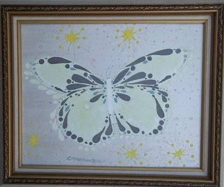 Cathy Dobson: 'White Butterfly', 2014 Oil Painting, Magical.  Original Illuminous Oil Painting  from The Butterflies and Unicorns Collection. Phosphorescent highlights glow in the dark or under black lights. Magical !     ...