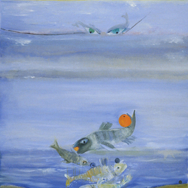 Alexandra Rozenman: 'Fishy Orange Blues', 2006 Oil Painting, Fish.