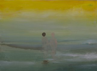 Alexandra Rozenman: 'just us', 2014 Oil Painting, Love. Artist Description: In this 40x30  oil canvas you can feel the tenderness and understanding of two people in the picture. It is soft, foggy, spiritual, lovely with bright yellow sun coming through clouds. ...