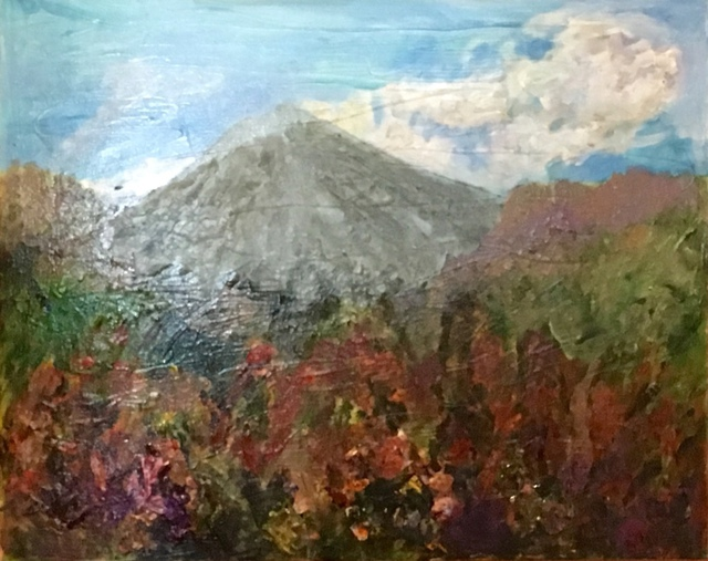 Roz Zinns  'Arenal Volcano', created in 2016, Original Collage.