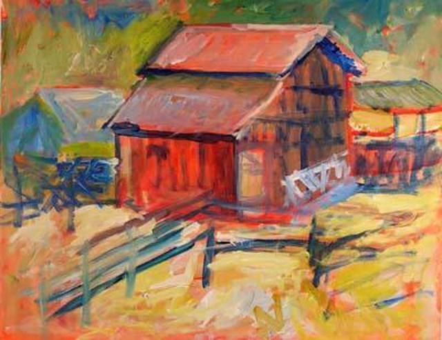 Roz Zinns  'Barn At Borges Ranch', created in 2005, Original Collage.