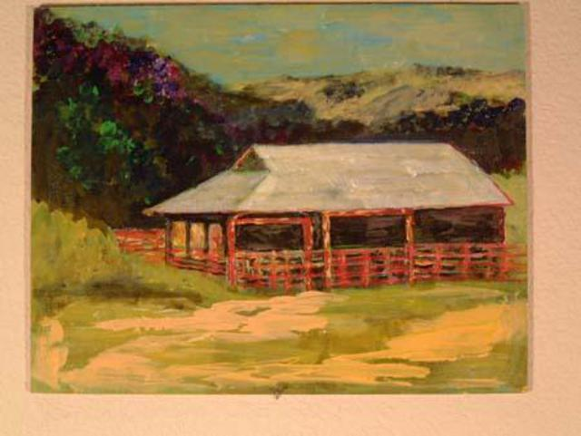 Roz Zinns  'Barn At Franklin Canyon', created in 2004, Original Collage.