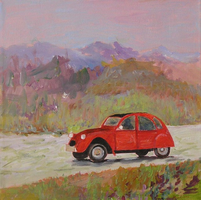 roz zinns artwork  citroen 2cv
