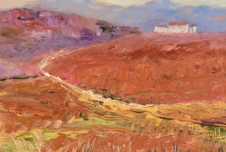 Roz Zinns: 'French Vista', 2010 Acrylic Painting, Landscape.    French hills and houses  ...