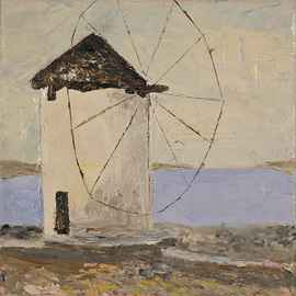 Roz Zinns Artwork Greek Windmill, 2010 Oil Painting, Travel