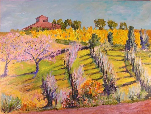Roz Zinns  'Hillside Vineyard', created in 2007, Original Collage.