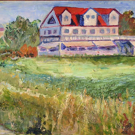 Roz Zinns Artwork House in the Meadow, 2010 Acrylic Painting, Landscape