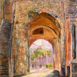 Roz Zinns: 'Italian Portal', 2006 Acrylic Painting, Architecture. Artist Description: If these walls could talk.  Painting of ancient structure which has been modified many times over the years.  The texture in the painting suggests the rough stones and pebbles used in the construction....