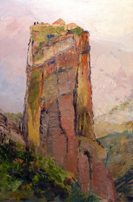 Roz Zinns: 'Meteora', 2011 Oil Painting, Religious.  Monasteries on hilltops in Greece    ...